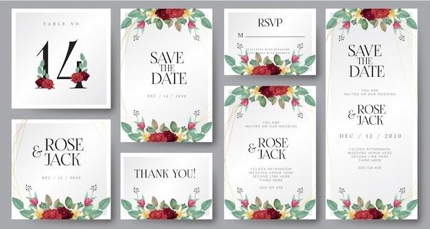 Burgunder erröten aquarellblumenhochzeits-einladungskarte