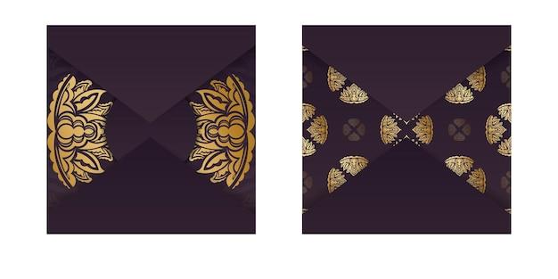 Burgunder-farbkarte mit luxuriösem goldmuster für ihr design.