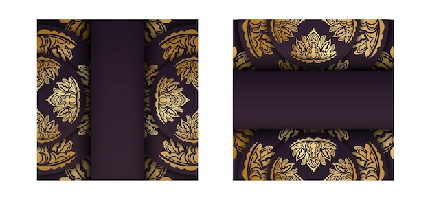 Burgunder-postkarte mit luxuriösem goldmuster für ihre marke.