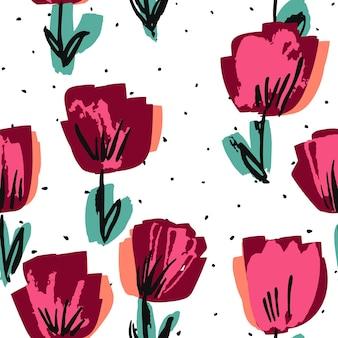 Burgunder und rosa rose filzstift vektor nahtlose muster. lotus frühling papierstruktur. mode gezeichnete tapete. blüten-stoff-hintergrund.