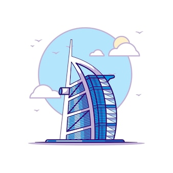 Burj al arab illustrationen. wahrzeichen konzept weiß isoliert. flacher cartoon-stil