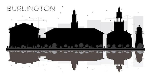 Burlington city skyline schwarz-weiß-silhouette mit reflexionen vektor-illustration