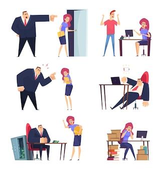 Burnout-job. problem bei der arbeit überwältigt schläfrig faule manager betont sachen wütend chef müde charaktere vektor menschen. illustration charakter mitarbeiter müde im büro, geschäft wütend chef