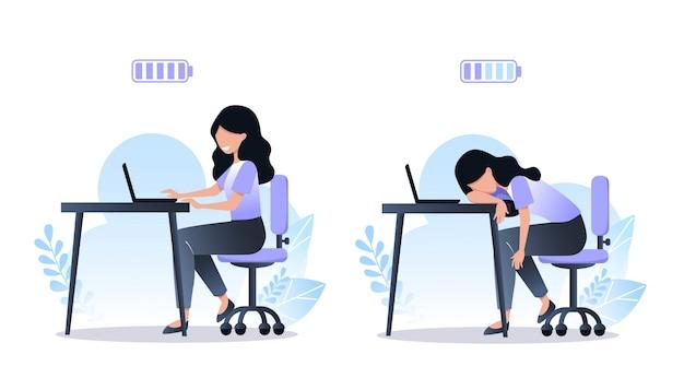 Burnout-konzept, glückliche arbeiterin und müde. volle und entladene batterie, stress bei der arbeit, psychische gesundheitsprobleme. vektorillustration