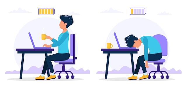 Burnoutkonzeptillustration mit dem glücklichen und erschöpften männlichen büroangestellten, der am tisch mit voller und schwacher batterie sitzt.