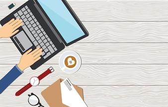 Büro-Arbeitsplatz-Arbeitsplatz-Tisch-Computer-flache Draufsicht