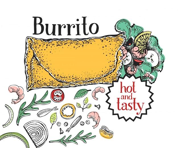 Burrito mexikanische nahrung. traditionelle mexikanische küche.