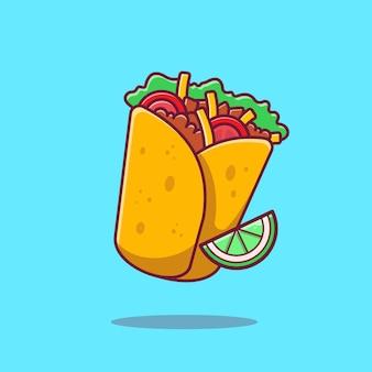 Burrito mit zitronen-karikatur-symbol-illustration. mexiko-nahrungsmittel-symbol-konzept isoliert. flacher cartoon-stil