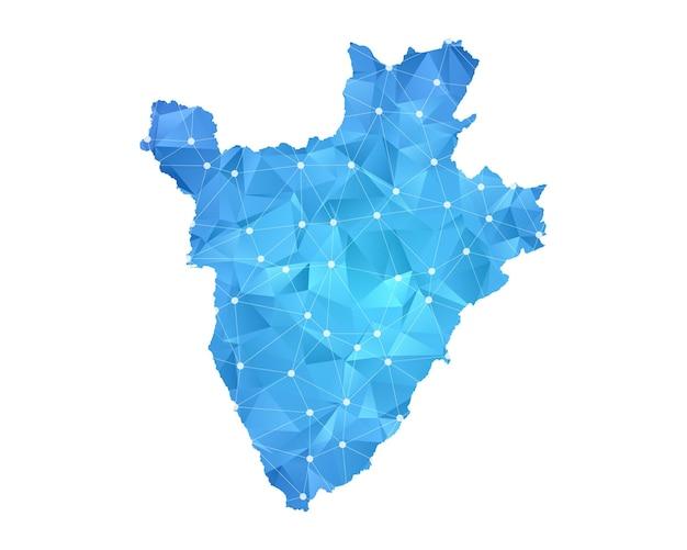 Burundi-kartenlinie punktet polygonale abstrakte geometrische.