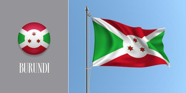 Burundi winkende flagge auf fahnenmast und runder symbolillustration