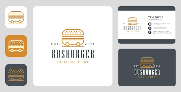 Bus-burger-logo mit stationärem design