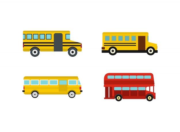 Bus-icon-set. flacher satz der busvektor-ikonensammlung lokalisiert