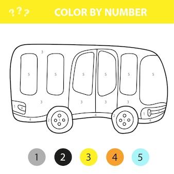 Bus im cartoon-stil, farbe nach nummer, bildungspapierspiel für die entwicklung von kindern, malseite, vorschulaktivität für kinder, arbeitsblatt