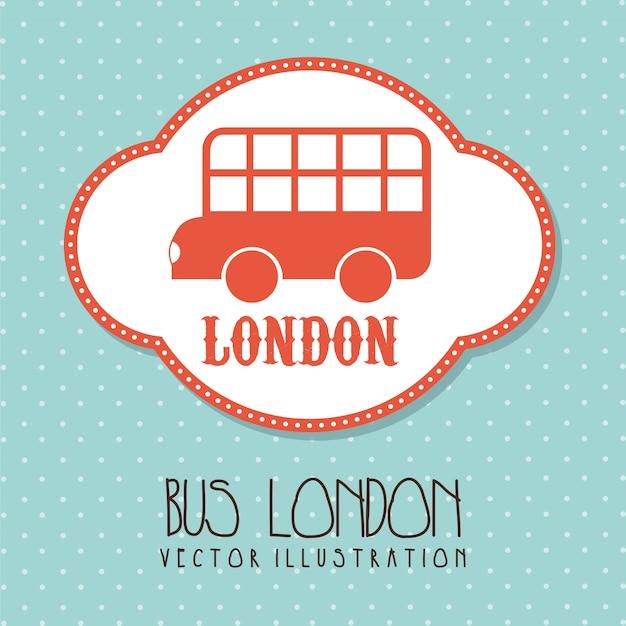 Bus london über nette hintergrundvektorillustration