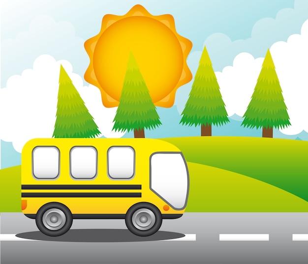 Bus über straße mit bäumen und bergen