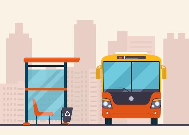 Bus und bushaltestelle auf abstraktem stadtbild.