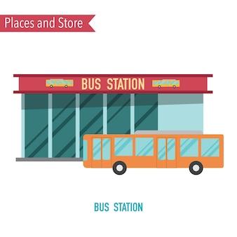 Busbahnhof im flachen konzept des entwurfes.
