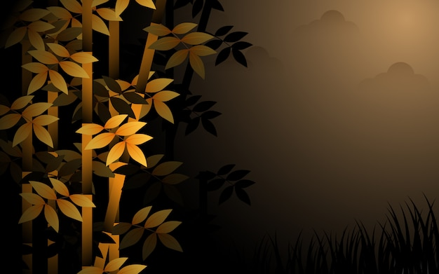 Buschige pflanzen in der nacht sind neblig