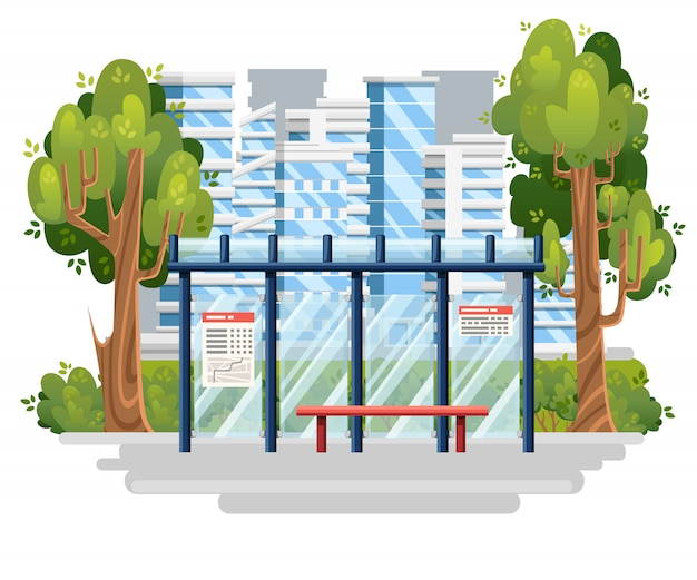 Bushaltestelle abbildung. moderne stadt im hintergrund. stil. grüner baum und büsche. illustration. stadtkonzept