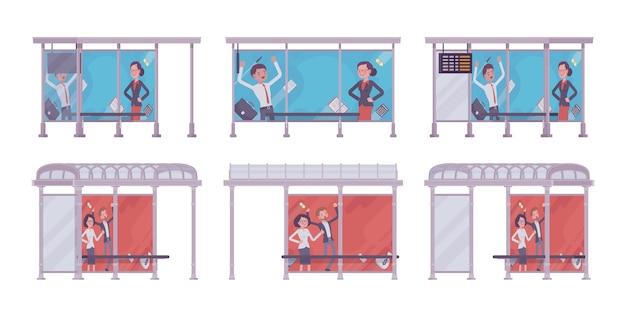 Bushaltestelle eingestellt. blaue, rote sammlung, platz passagiere warten auf öffentliche verkehrsmittel, banner mit werbung. stadtstraßenverschönerung, städtebauliches konzept. stil cartoon illustration