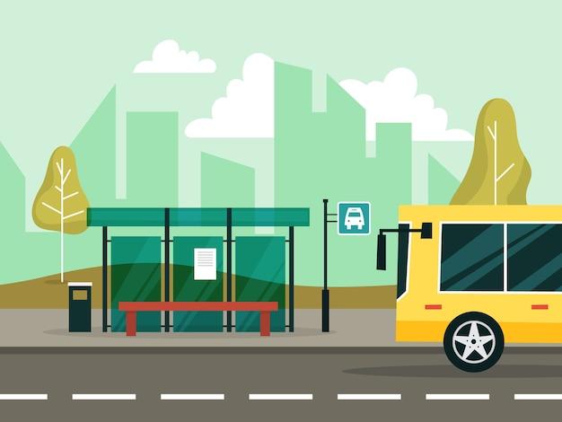 Bushaltestelle in der stadt. idee des transports.