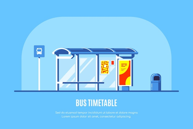 Bushaltestelle mit bushaltestellenschild und mülleimer auf blauem hintergrund. .