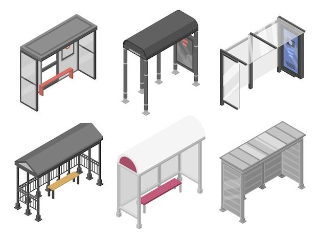 Bushaltestelle symbole festgelegt. isometrischer satz bushaltestelle-vektorikonen für das webdesign lokalisiert auf weißem hintergrund