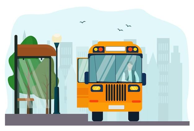 Bushaltestelle und gelber bus mit fahrer in der stadt. vektor