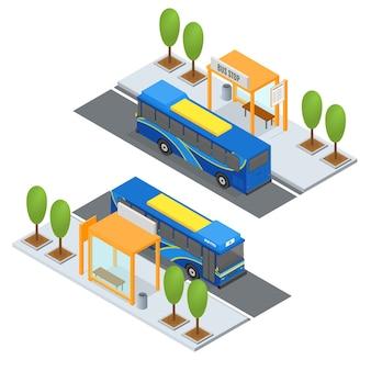 Bushaltestelle und öffentliche verkehrsmittel