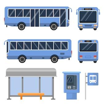 Bushaltestelle und verschiedene ansichten von bussen