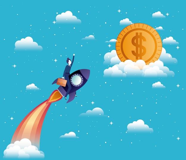 Busiensswoman fliegen in rakete starten mit geld