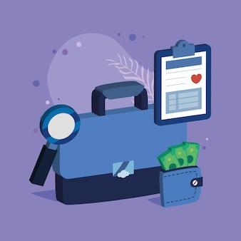 Business-aktenkoffer mit versicherungsartikeln