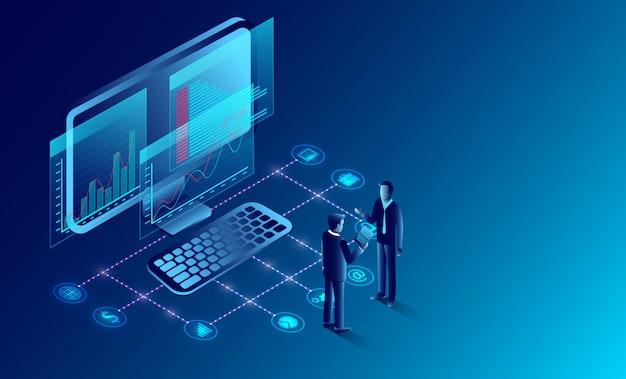 Business-analyse und kommunikation, zeitgemäßes marketing und software für die entwicklung. abbildung cartoon vektor