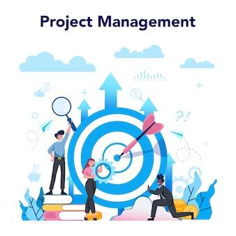 Business analyst konzept. projektmanagement idee von geschäftsplan und strategie. marketinganalyse und -entwicklung. vektorillustration im karikaturstil Premium Vektoren