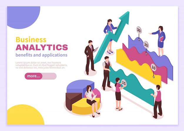 Business analyst landing page mit isometrisch isolierten vorteilen und anwendungssymbolen