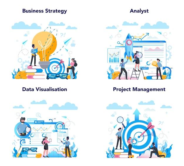 Business analyst web-banner oder landing page set. geschäftsstrategie und projektmanagement. optimierung und fortschritt. leute, die mit grafik und diagramm arbeiten.