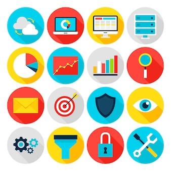 Business analytics-flache symbole. vektor-illustration. big-data-statistik. satz von kreiselementen mit langem schatten.
