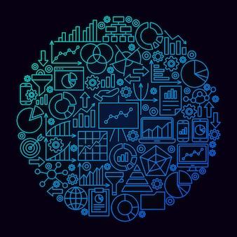Business analytics line circle konzept. vektor-illustration von diagrammobjekten über schwarz.