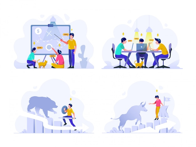 Business and finance illustration flacher farbverlauf designstil, strategische planung, diskussion des treffens, bärenmarkt, bullentrend