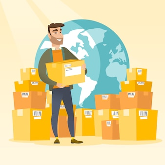 Business arbeiter des internationalen lieferservice.