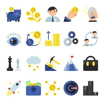 Business-b2b-symbole im flachen stil. ikonen des managements und der finanzen
