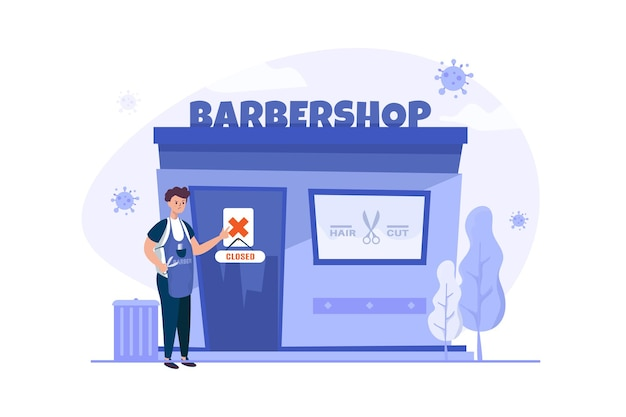 Business barbershop ist während der pandemischen illustration geschlossen