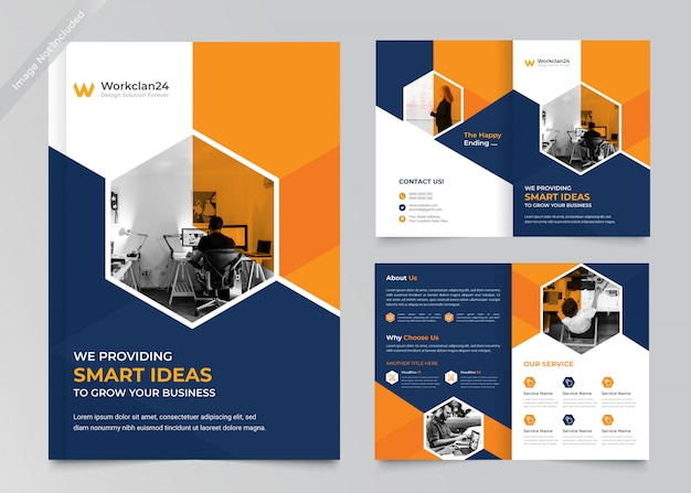 Business bi-fold broschüre premium vorlage