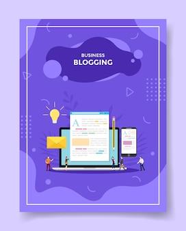 Business-blogging-konzept leute um laptop-artikel in bildschirmanzeige glühbirne smartphone bleistiftumschlag für vorlage