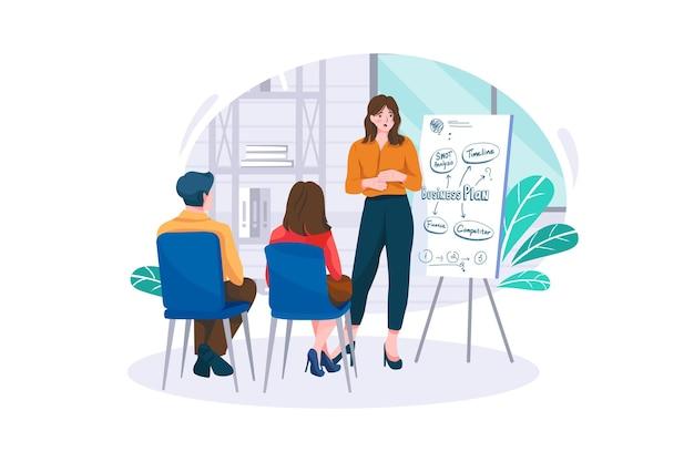 Business briefing im bürokonzept
