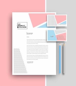 Business-briefkopf mit visitenkarten-vorlagen-design, vektor-illustration.