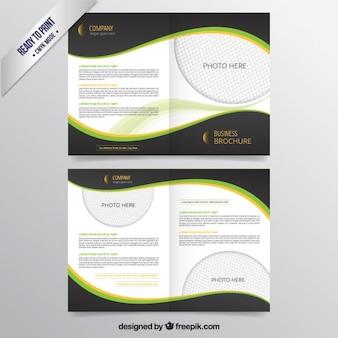 Business-broschüre mit dunklen wellen