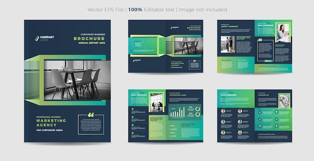 Business-broschüre oder firmenprofil-design Premium Vektoren