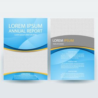 Business broschüre vorlage mit blauen formen