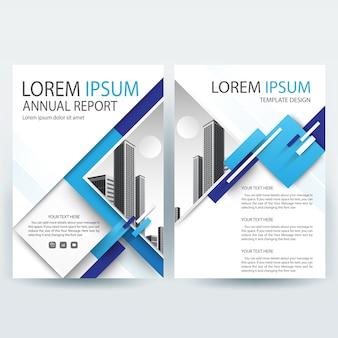 Business broschüre vorlage mit blauen geometrischen formen